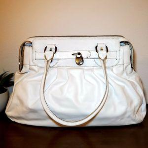 Prune White Leather Shoulder Bag